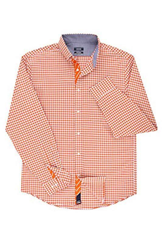 IZOD Mens Slim Fit Check Buttondown Collar Dress Shirt