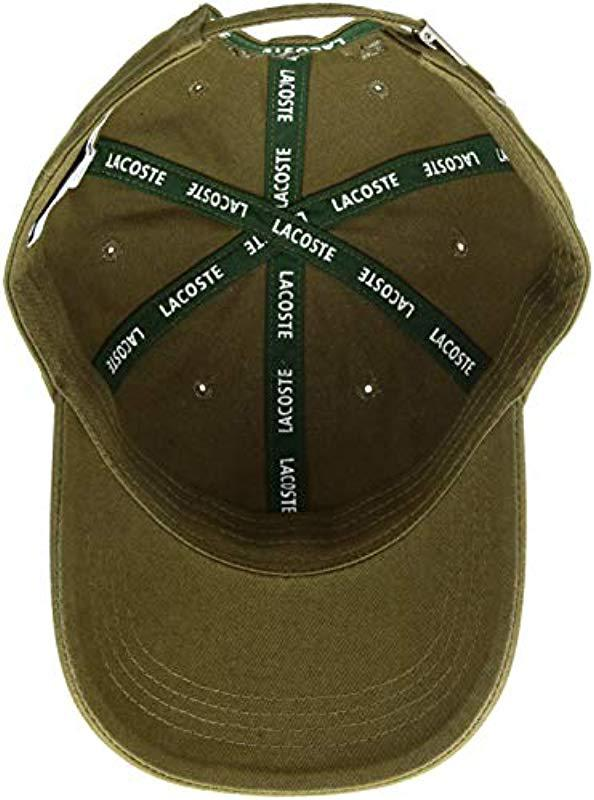 8012f0d08acc2 Lacoste - Cotton Gabardine Cap With Signature Green Croc for Men - Lyst.  View fullscreen