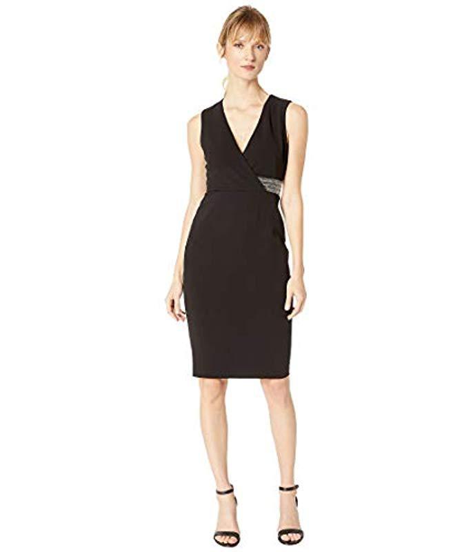 8f89a6e73410f Calvin Klein. Women s Black Sleeveless V Neck Sheath With Embsllished Waist  Dress