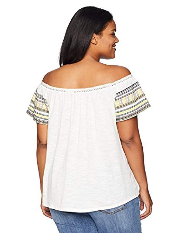 64fb8bfbc541e9 Lyst - Lucky Brand Size Plus Embroidered Off The Shoulder Top - Save 52%
