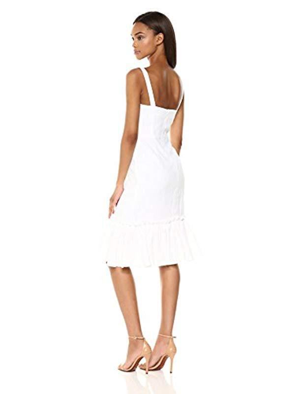 4091309656 Lyst - MILLY Italian Linen Kerry Spaghetti Strap Dress With Ruffle Hem in  White