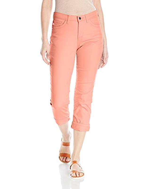 072e87e78d48e Lyst - Lee Jeans Easy Fit Cameron Cuffed Capri Jean in Pink - Save ...