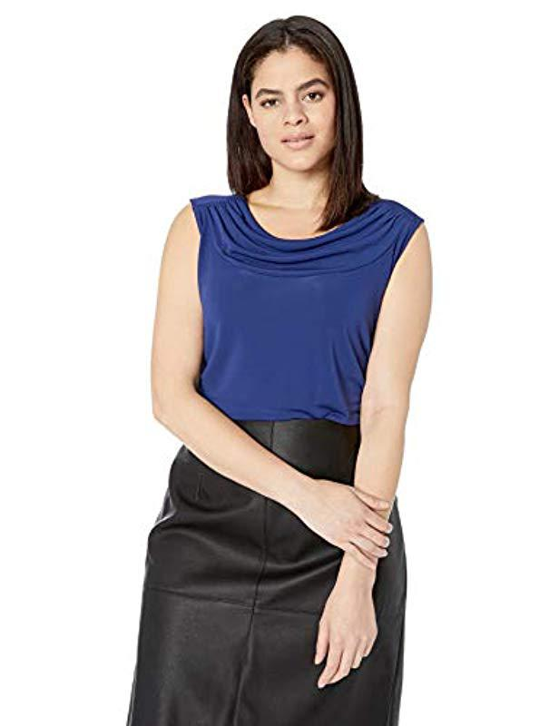 803a773a53c Lyst - Nine West Plus Size Sleeveless Drape Front Jersey Cami in Blue