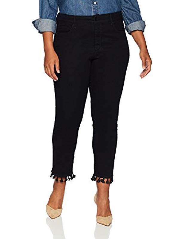 4d91656625d58 Lyst - Nydj Plus Size Sheri Slim Ankle With Tassle Hem in Black
