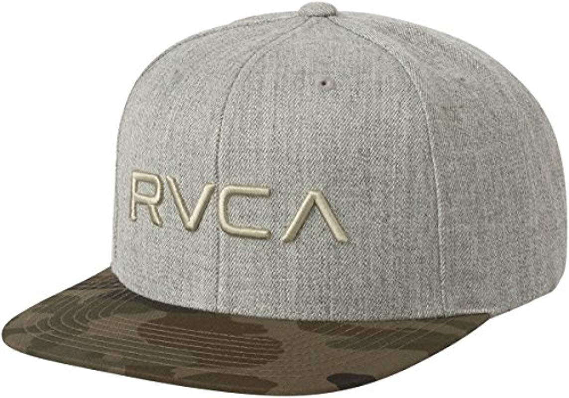 pretty nice 95a61 eba3e ... sweden lyst rvca twill snapback six panel trucker hat in gray for men  02532 e6d34