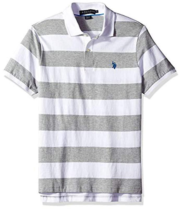 1061df610 Lyst - U.S. Polo Assn. Wide Stripe Polo Shirt in Gray for Men