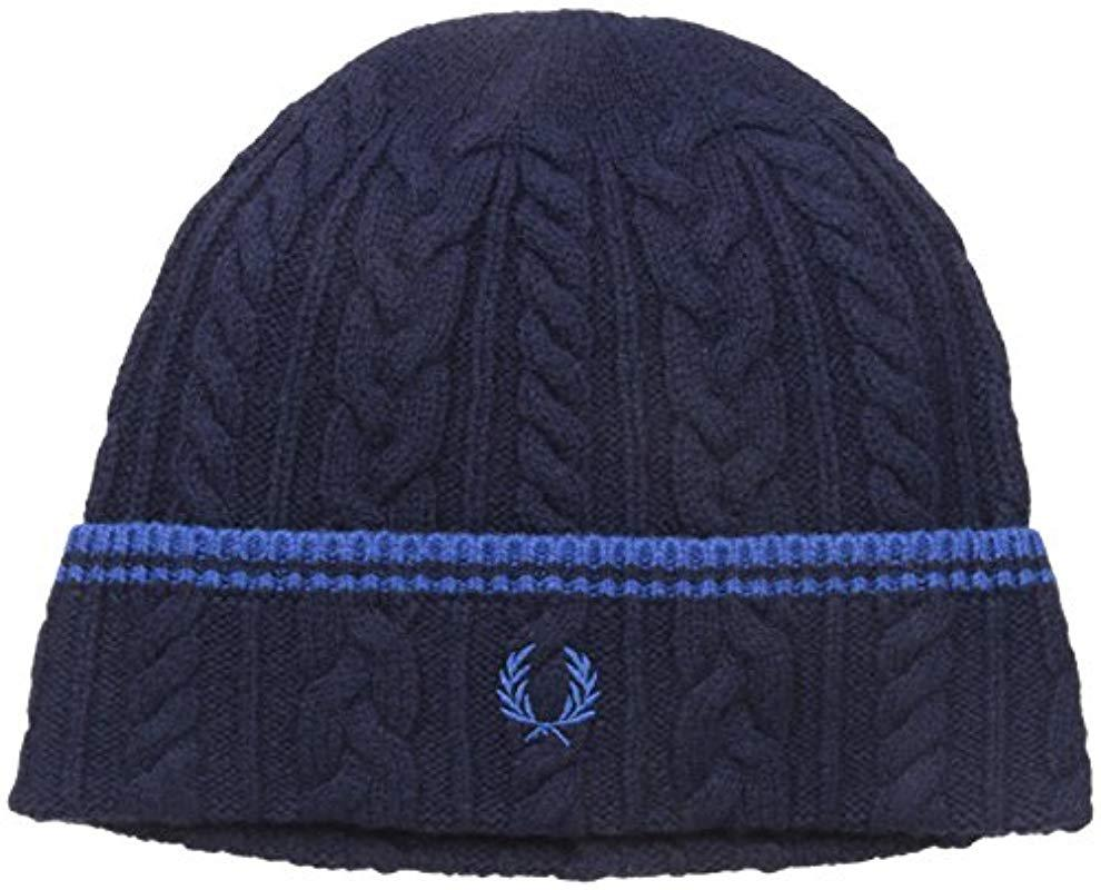 c3b81ccfa Lyst - Fred Perry Tipped Cable Beanie in Blue for Men