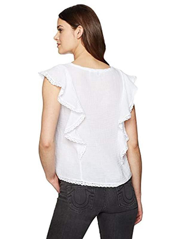 13e62c9a5fc Lyst - Michael Stars Double Gauze Vee Neck Flounce Sleeve Top in White -  Save 13%