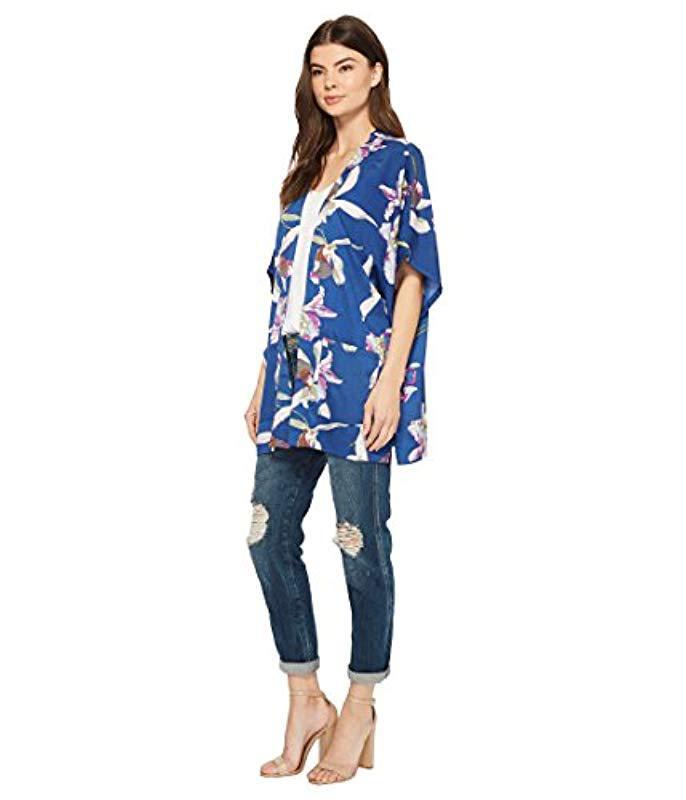 b3831d4ea1c ... Hibiscus Floral Loose Half Sleeve Kimono Loose Top - Lyst. View  fullscreen