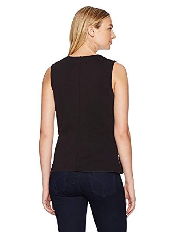 d630eb96f10411 Lyst - Lark   Ro Sleeveless Peplum Top in Black