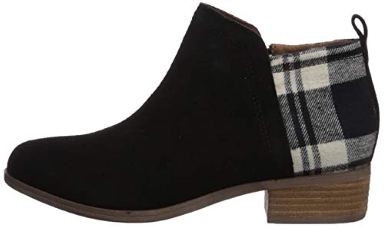 TOMS Deia Ankle Boot, Black Suede/plaid