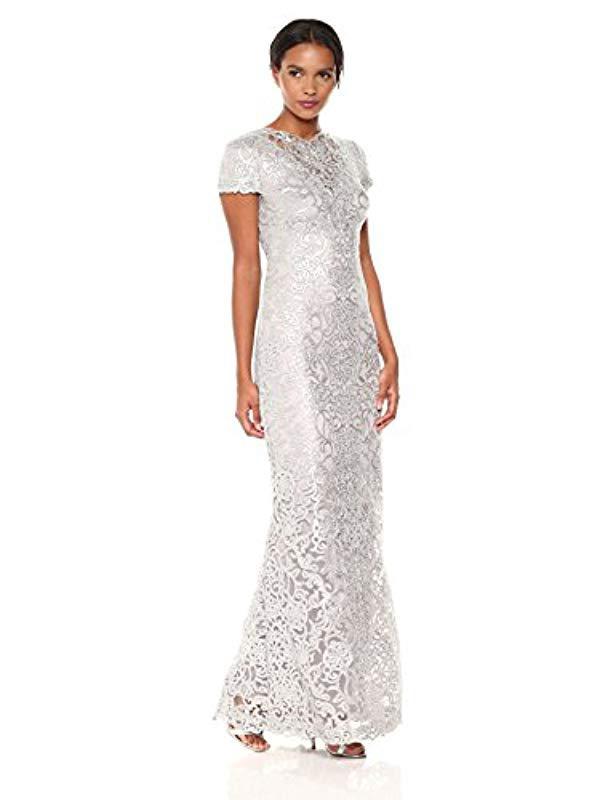 c5b58872cd2 Lyst - Tadashi Shoji Short Sleeve Sequin Lace Gown in White