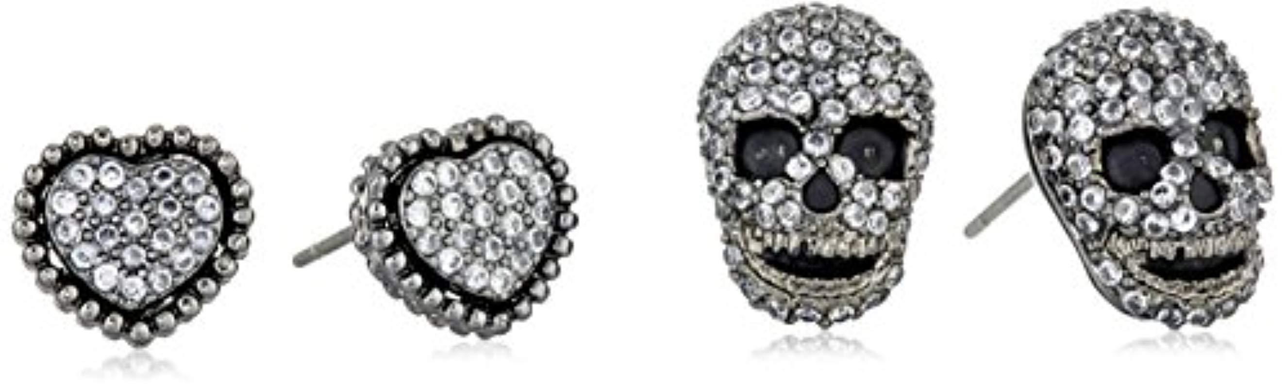 Lyst Betsey Johnson Cubic Zirconia Pave Heart And Skull Duo Set