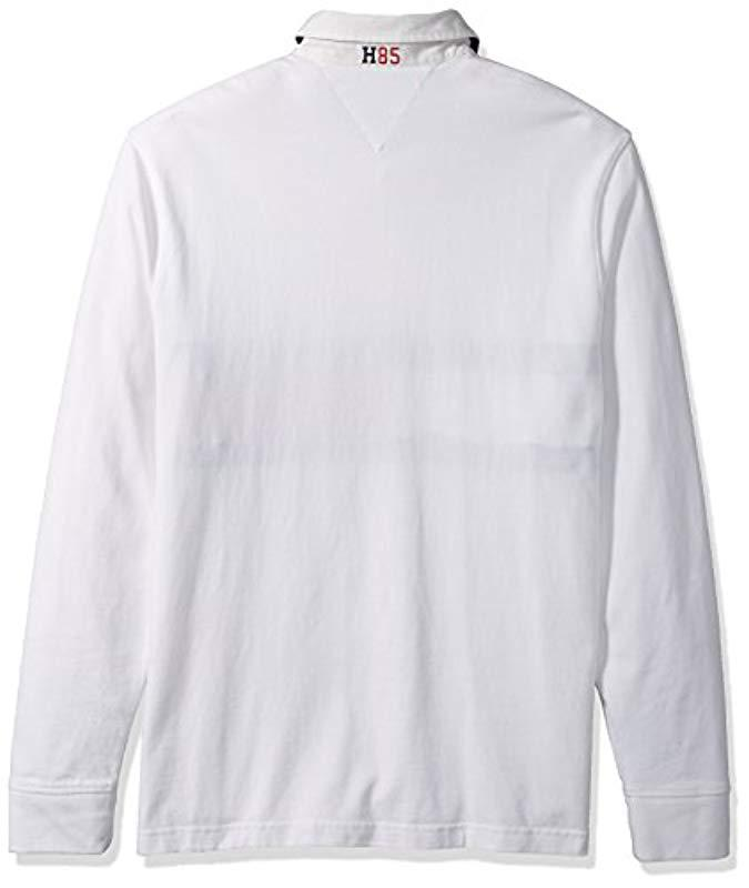 d523c878 Tommy Hilfiger Big And Tall Long Sleeve Polo Shirt With Rugby Flag in White  for Men - Lyst