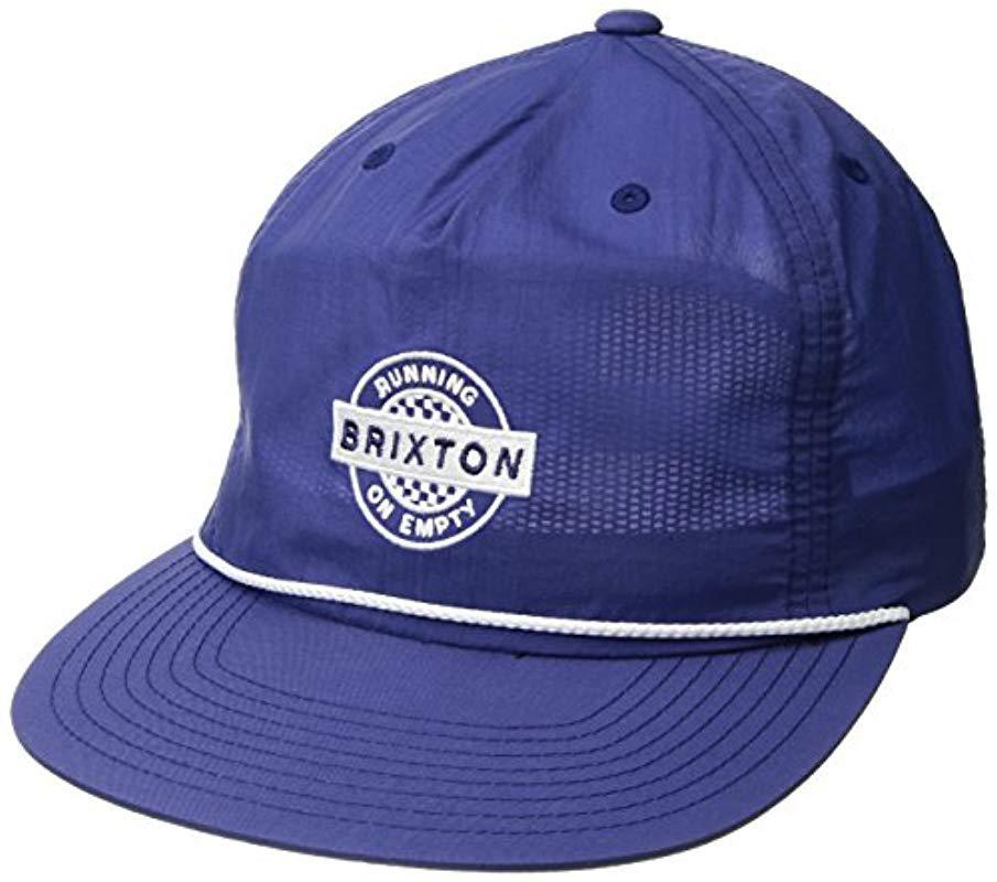 Brixton - Blue Speedway High Profile Adjustable Snapback Hat for Men -  Lyst. View fullscreen 96d127b1b6d6