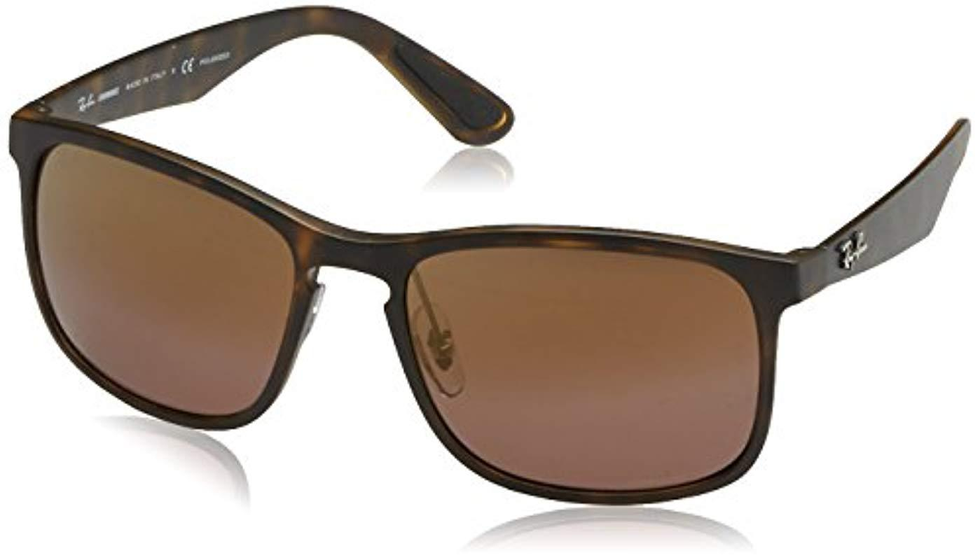 e290658e9b Lyst - Ray-Ban Rb4264 Chromance Lens Square Sunglasses in Brown for ...