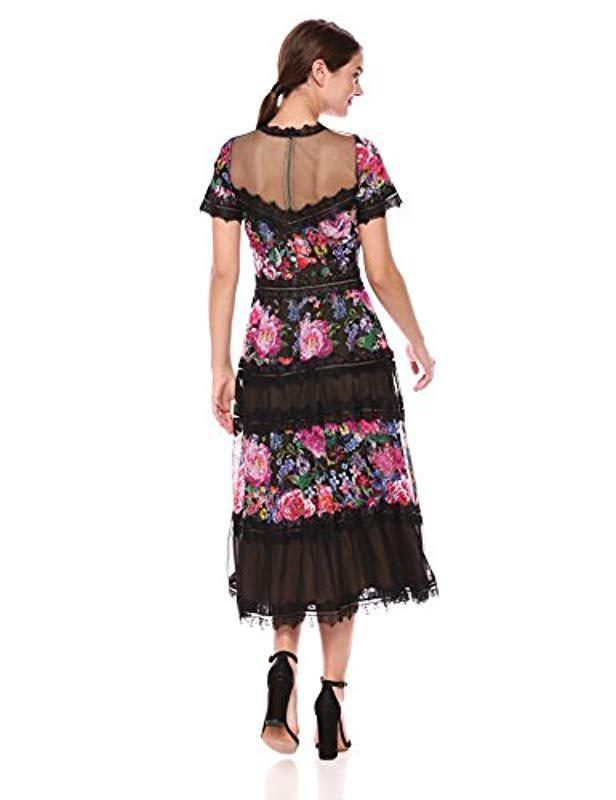 dada9781afed Tadashi Shoji Tea Length Lace Dress in Black - Save 60% - Lyst