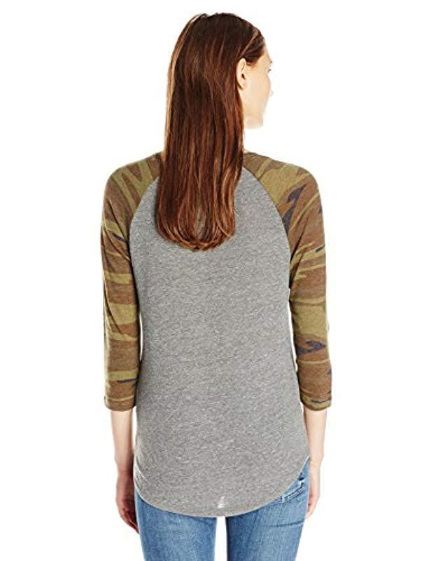 6e26df8069 Lyst - Alternative Apparel Eco Jersey Raglan Baseball (eco Grey camo) Women s  Clothing in Gray - Save 29%