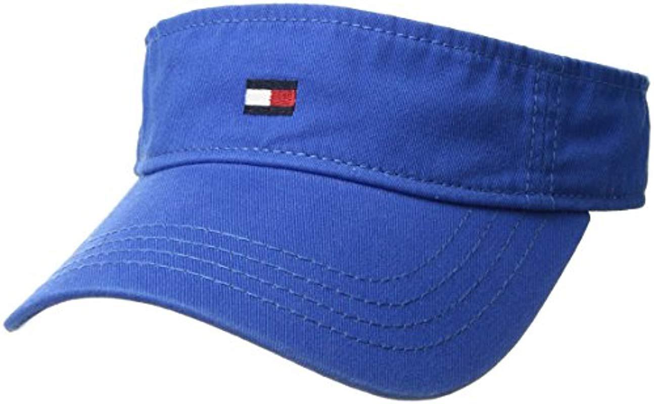 ea0d89d705e Lyst - Tommy Hilfiger Dad Hat Flag Solid Cotton Visor in Blue for Men