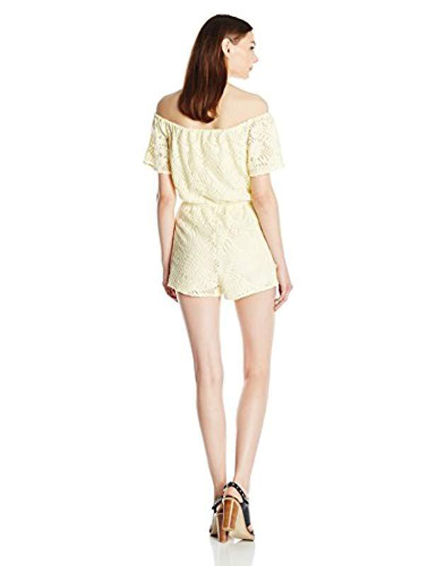 184e4233f24 Lyst - BB Dakota Haidyn Off The Should Lace Romper in Yellow - Save 17%