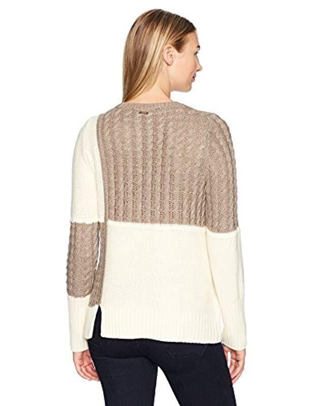 4b23f662583 Lyst - Ivanka Trump Pullover Round Neck Long Sleeve Color Block Sweater in  Natural