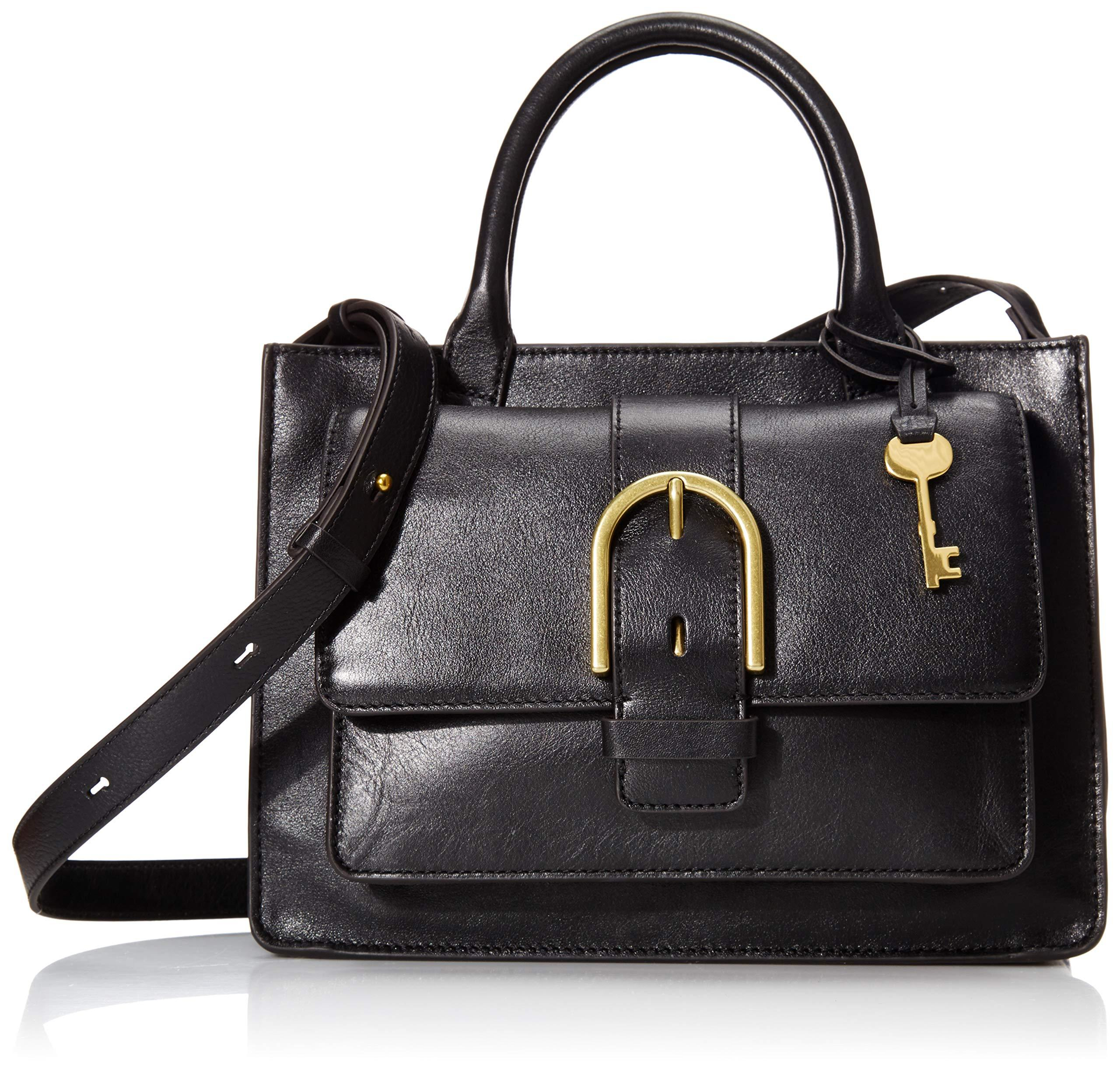 Fossil Wiley Leather Satchel Handbag in Black - Lyst