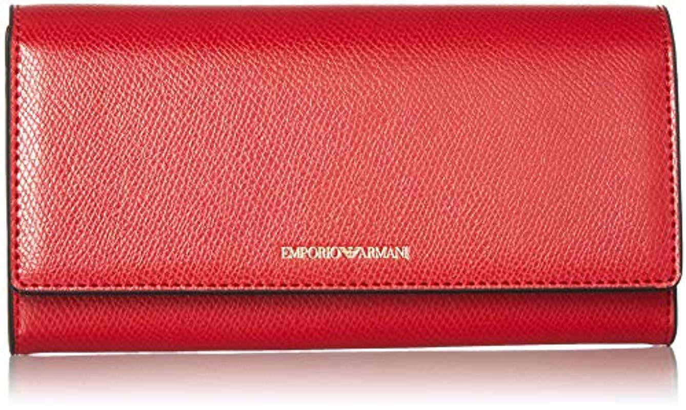 95fa8c0ba8a Lyst - Emporio Armani Large Wallet With Flap Closure in Red