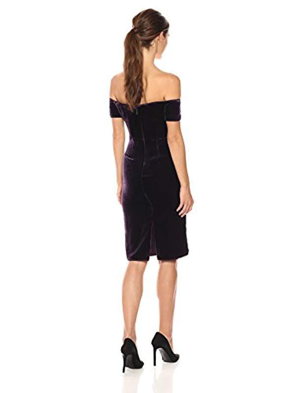 31f36813ee66 BCBGMAXAZRIA Bcbgmax Azria Karen Woven Crushed Velvet Off The Shoulder Dress  in Black - Lyst