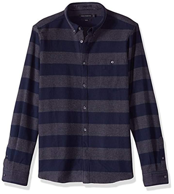 b4215ec26 Lyst - French Connection Classic Flannel Stripe Shirt in Blue for Men