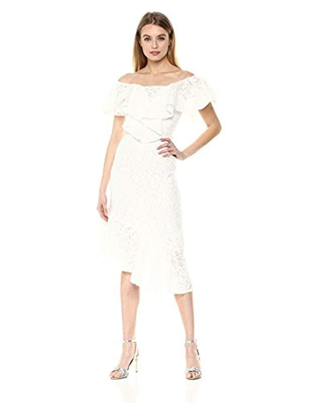 ec829963ed7a C meo Collective. Women s White More To Give Off Shoulder Lace Midi Dress