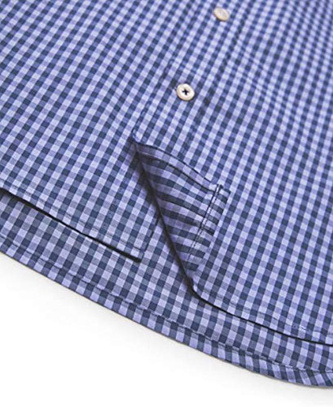 XiaoTianXin-men clothes XTX Mens Casual Slim Fit Checkered Long Sleeve Striped Tops Button up Shirts