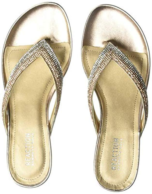 5af782113a65 Lyst - Kenneth Cole Reaction Frost Jewel Thong Sandal Flat in Metallic