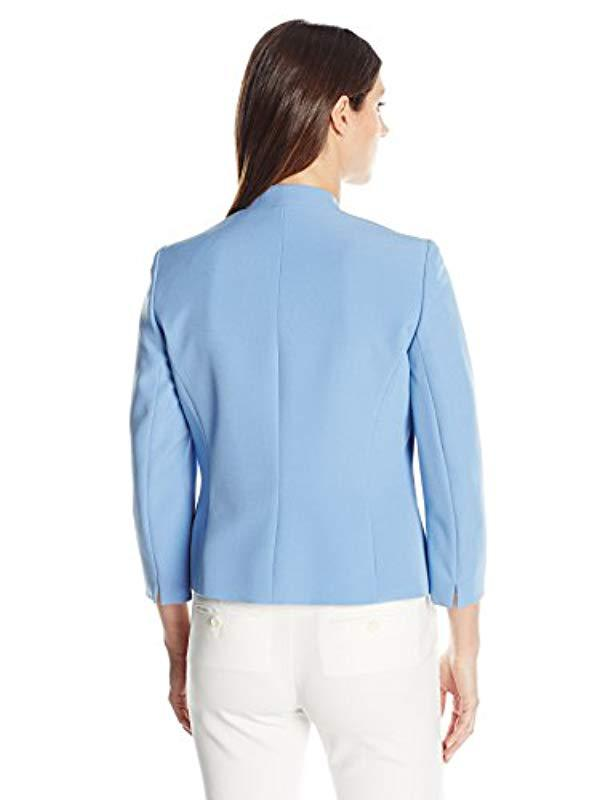 fc3037f7804 Lyst - Kasper Stretch Crepe Flyaway Jacket With Zipper Details in Blue