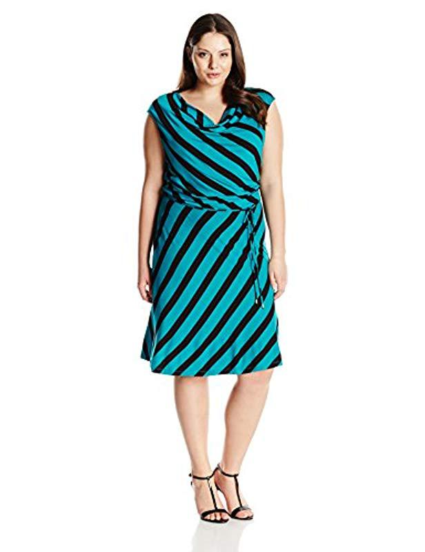 b4ac3d0c8a9b Lyst - Calvin Klein Plus Size Striped Short Dress in Black - Save ...