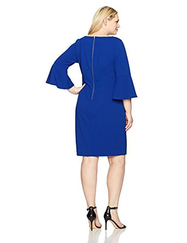 2635b25b033 Lyst - Calvin Klein Plus Size 3 4 Peplum Sleeve Sheath Dress in Blue