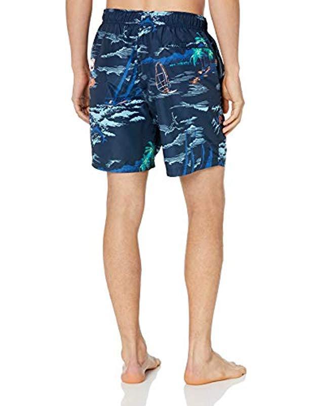 11bb5d3c15f38 Lyst - Nautica Quick Dry Ocean Print Full Elastic Swim Trunk in Blue for Men