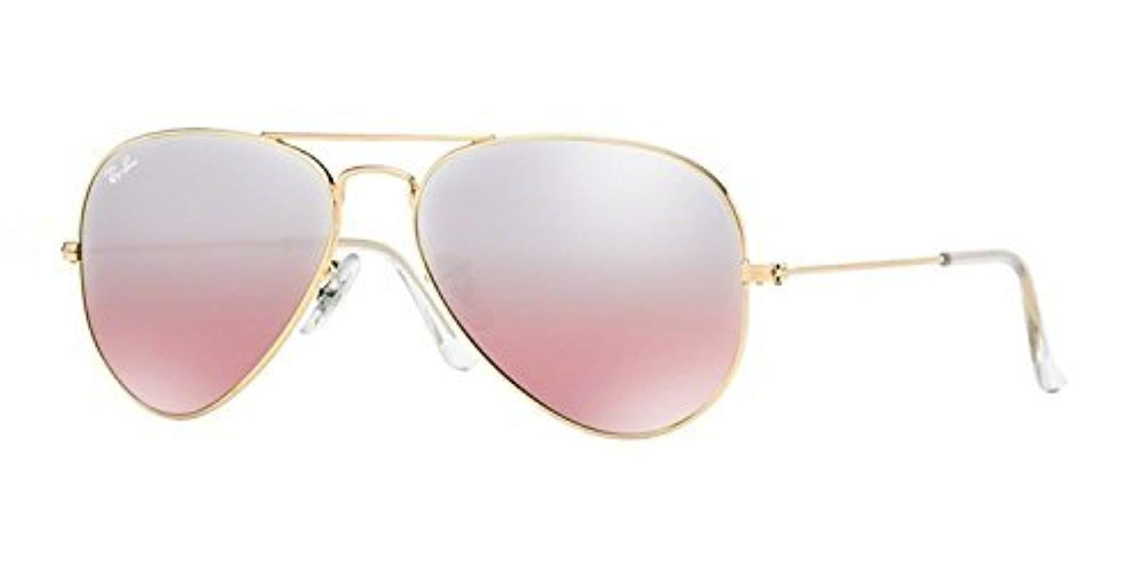 79a3dcc1172 Lyst - Ray-Ban Rb3025 Aviator Large Metal Unisex Sunglasses in Pink