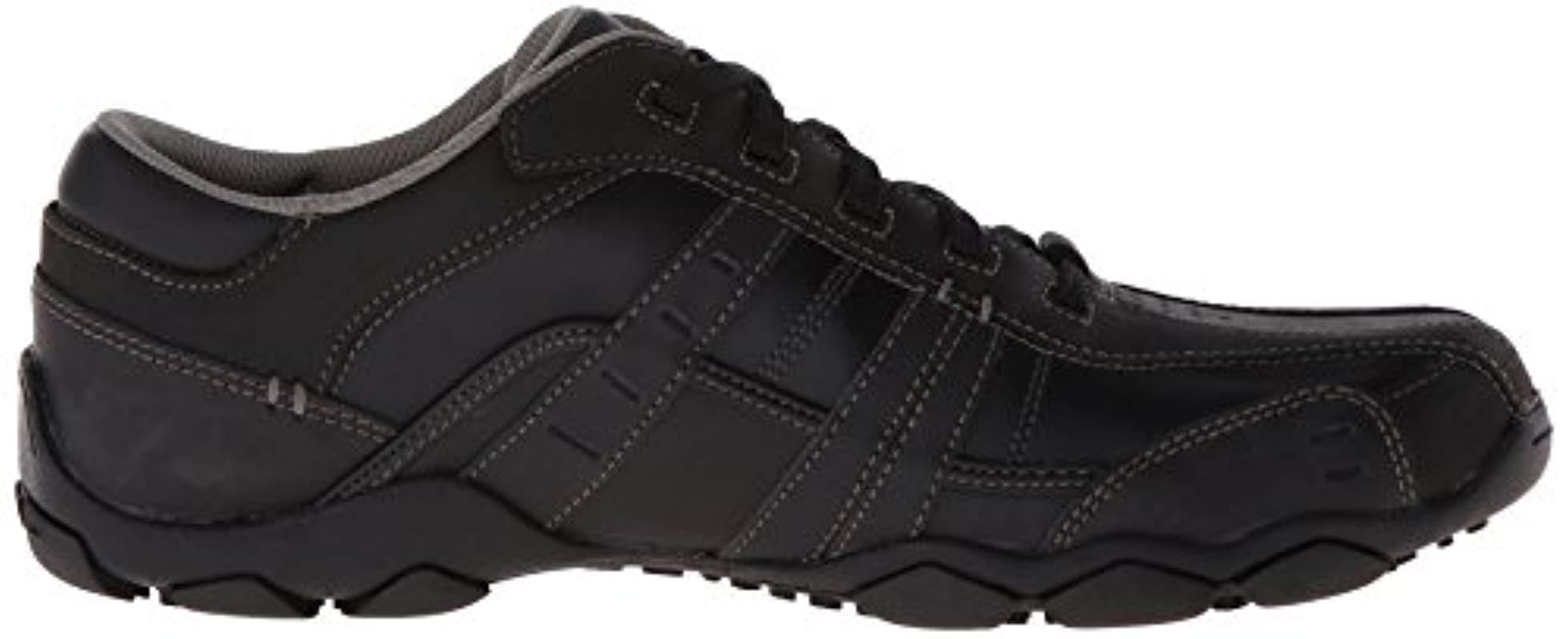 skechers men's vassell casual shoe- black/brown