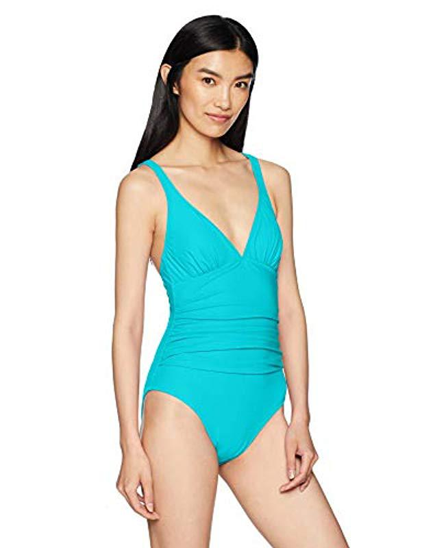 7c86084e0ca Lyst - Gottex Convertible V-neck One Piece Swimsuit in Blue - Save 83%