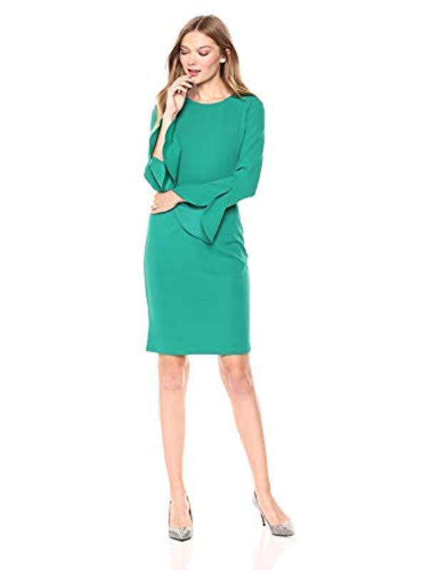 bbcca001 Lyst - Donna Morgan Long Ruffle Sleeve Sheath Dress in Green - Save 50%