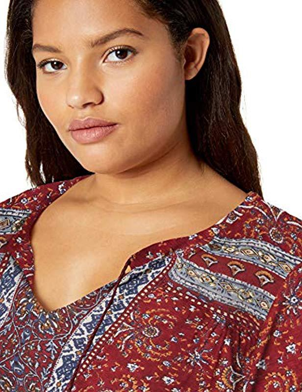 60fdc224b92 Lyst - Lucky Brand Plus Size Printed Peasant Top Beads in Red
