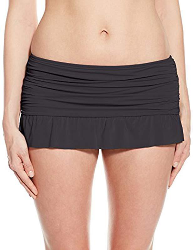 bae534178c087 Kenneth Cole Reaction. Women s Black Ruffle Shuffle Skirted Bikini Bottom