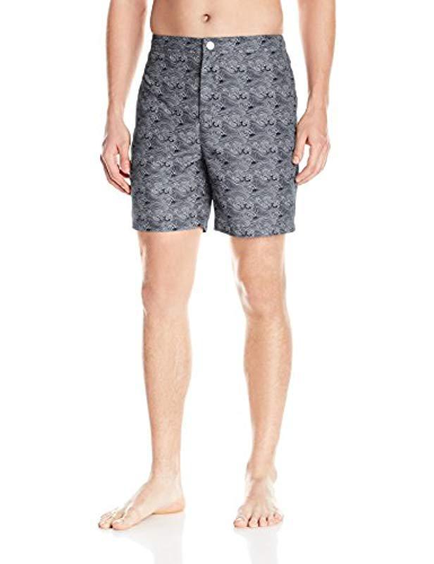 ffb1104ac4 Lyst - Calvin Klein Waves Pattern Fixed Waist Swim Trunk in Gray for ...