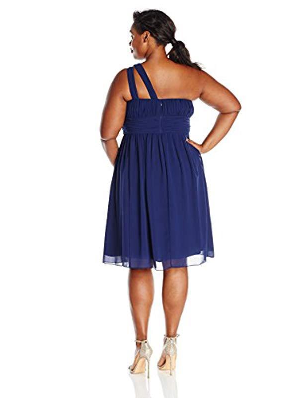 178779a1a3233 Lyst - Donna Morgan Plus Size One Shoulder Rhea Dress in Blue - Save  65.83333333333334%