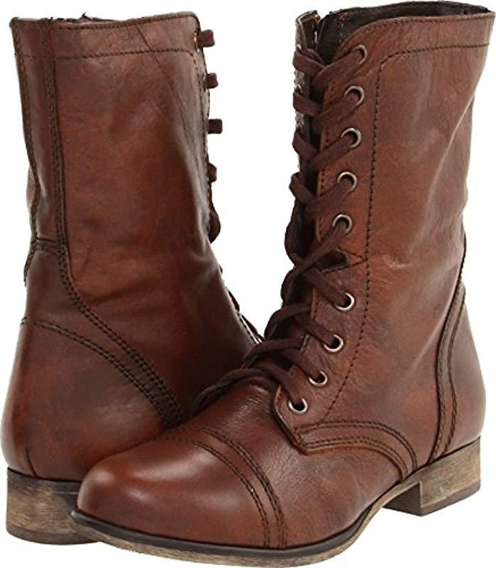no sale tax on sale wholesale online Steve Madden Leather Troopa Combat Boot in Brown Leather (Brown ...