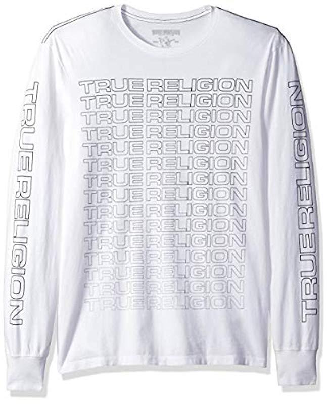 b63611ff71 Lyst - True Religion Fade True Ls Crew Neck Tee in White for Men