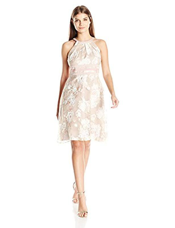 Organza Lyst White Printed Petite In Papell Neck Halter Adrianna 35RLj4A