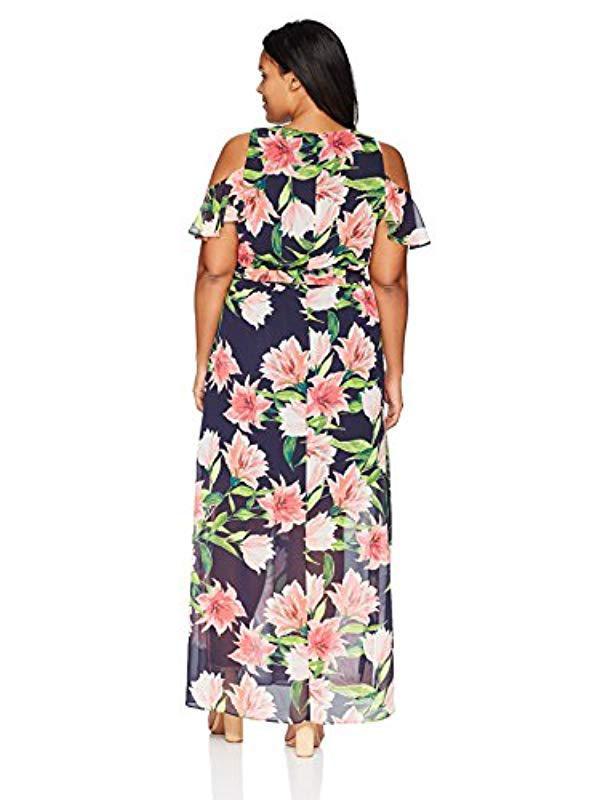 Women\'s Blue Plus Size Cold Shoulder Maxi Dress