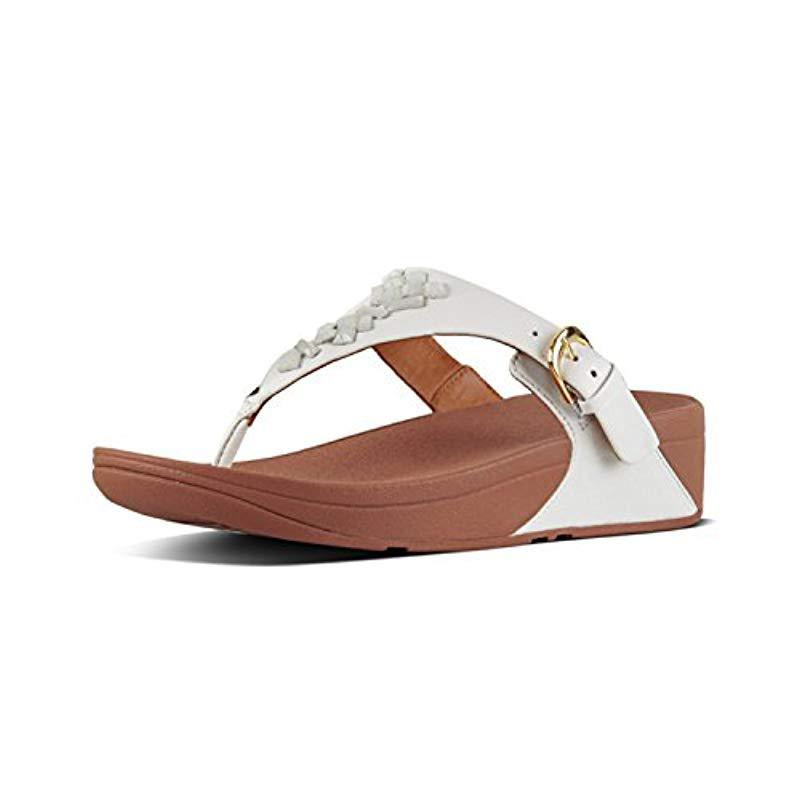 3c6773714c9bf1 Lyst - Fitflop The Skinny Toe-thong Sandals-crystal in White