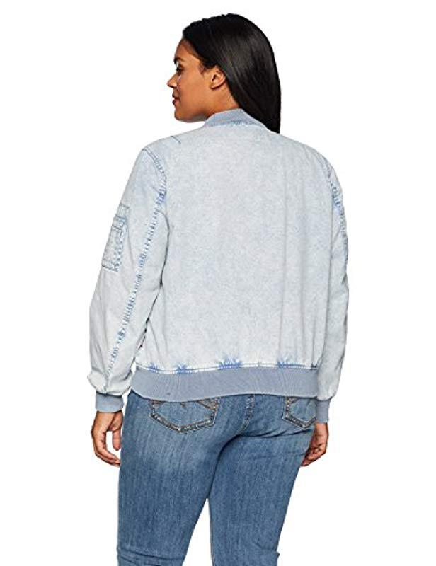 8fe78a3ab86 Lyst - Levi s Size Plus Acid Wash Cotton Bomber Jacket in Blue - Save 13%